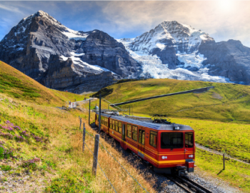 A train traveling through mountains