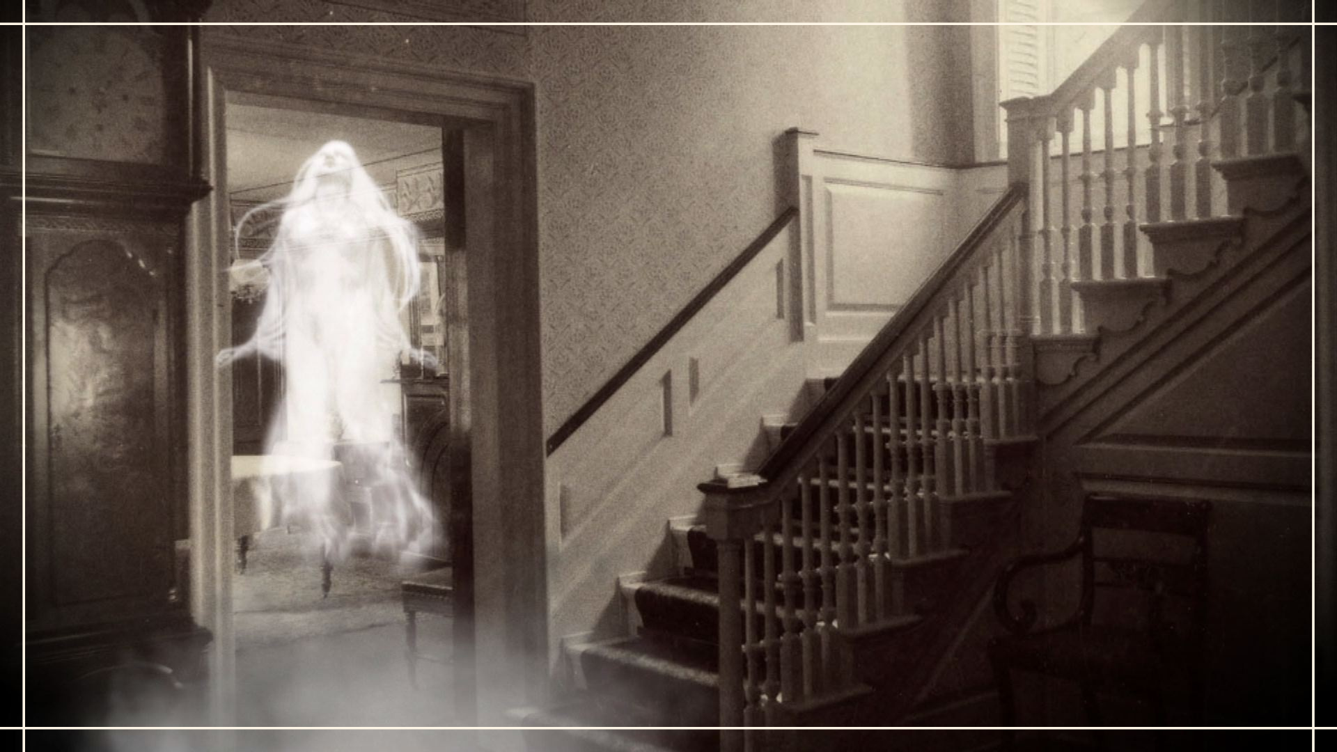A whispy ghost in front of a stairway in an old home
